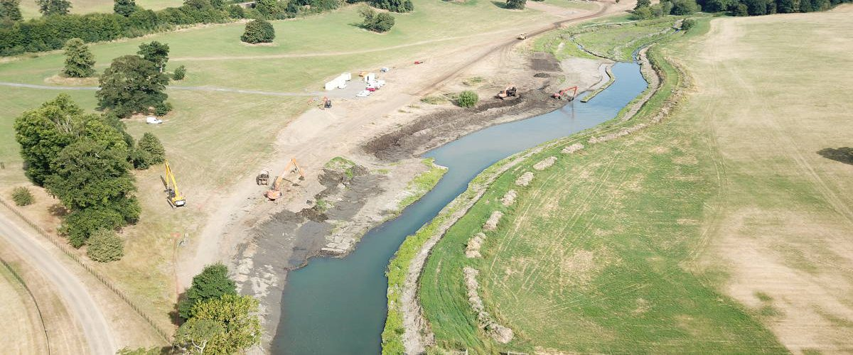 River Beane with diggers working to conserve river