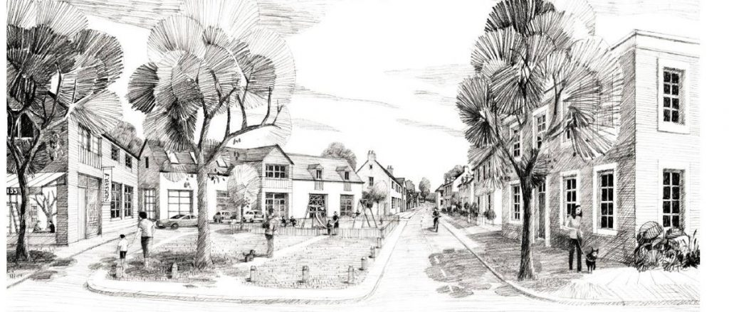 Artist's impression of village square with play area and shops, development in rural Hertfordshire