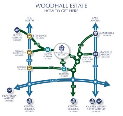 Woodhall Estate location maps Hertfordshire Event Venue